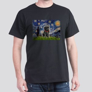 Starry Night / Black Pug Dark T-Shirt